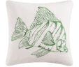 Julianne's -Shell Reef Embroidered Green Fish Pillow
